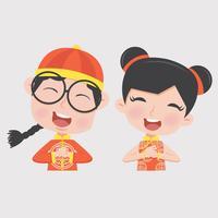 menino e menina em traje de crianças chinesas vetor