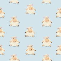Ovelhas bonitos sentado feliz vertor padrão vetor