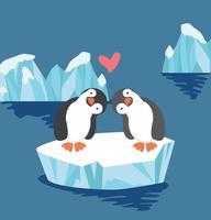 Pinguim casal apaixonado no bloco de gelo vetor