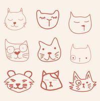 mão desenhar gato de cara vector