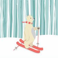 Cute, urso polar feliz, esquiando