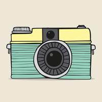 Retrô câmera doodle desenhado à mão vetor