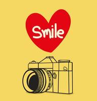 câmera fotográfica retrô com sorriso