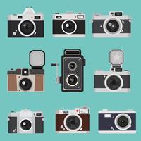 Conjunto de design plano de câmera vintage vetor