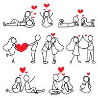 desenho de linha de mão de desenho amor casal de caráter vetor