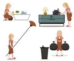Empregadas domésticas e conjunto de trabalho de limpeza vetor