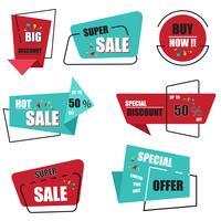 Coleção de etiqueta de venda de origami moderno vetor