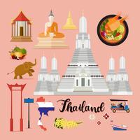 Conjunto de viagem turística Tailândia coleção vetor