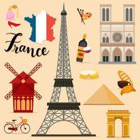 Tourist France Travel coleção definida vetor