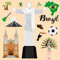 Tourist Brazil Travel coleção definida vetor