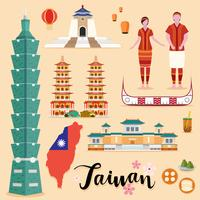 Tourist Taiwan Travel coleção definida vetor