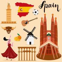 Tourist Spain Travel coleção definida vetor