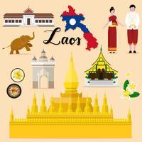 Tourist Laos Travel coleção definida vetor