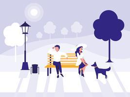 casal no personagem de avatar do parque