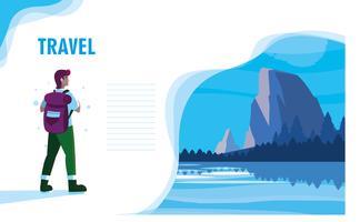 paisagem com modelo de lago e viajante