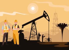 cena da indústria de petróleo com torre e trabalhadores vetor