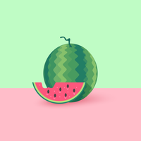 Ilustração em vetor plana melancia e fatia