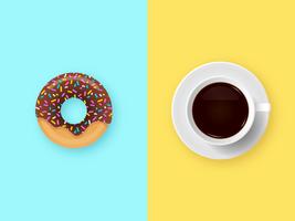 Donut De Chocolate E Café Da Manhã vetor