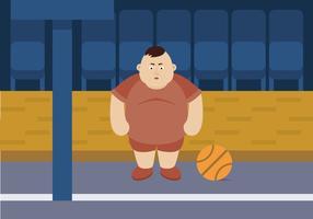 Jogador de basquete cara gordo vetor