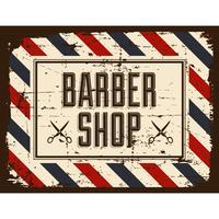 Retro de sinal de loja de barbeiro vetor