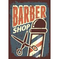 Sinal de loja de barbeiro com tesoura vetor