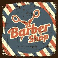 Sinal de loja de barbeiro vintage vetor