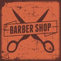 Sinal de loja de barbeiro laranja vetor