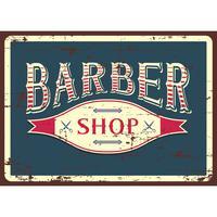 Sinal de loja de barbeiro azul vetor
