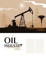 cena da indústria de petróleo com derrick vetor