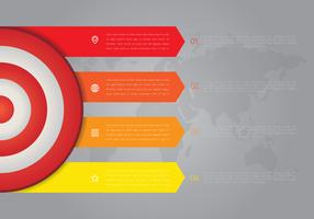 On target Cooperar Metas Infográfico 4 step highligh vetor