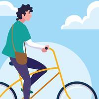 jovem andando de bicicleta com céu e nuvens vetor