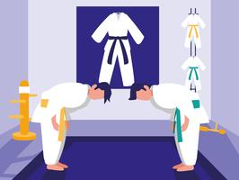 cena do dojo das artes marciais vetor