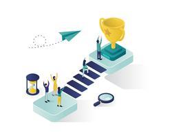 alcançando o design de ilustração isométrica de sucesso vetor