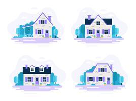 Conjunto de 4 casas com jardins. vetor