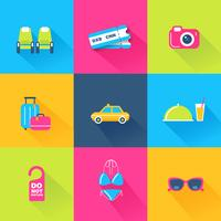 Conjunto de 9 ícones coloridos de viagens vetor