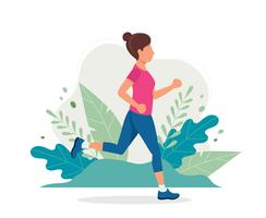 Mulher correndo no parque. vetor