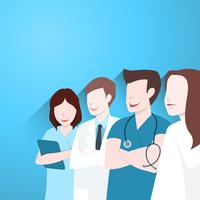 Grupo de médicos, feliz equipe médica vetor