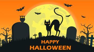 Gato de Halloween no cemitério vetor