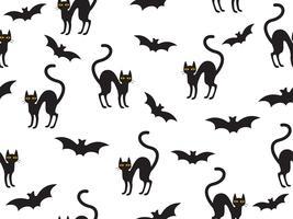 Gato e morcego padrão vetor