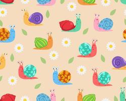 Caracóis com padrão de flores vetor