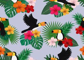 Teste padrão floral tropical vetor