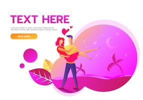 Página da Web do cartão de dia dos namorados vetor