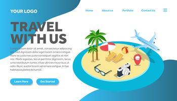 ilha isométrica viajando ilustração site página de destino vetor