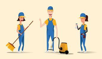 Pessoal de serviço de limpeza vetor