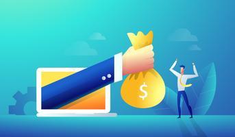 Empresário dando recompensa on-line vetor