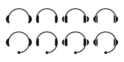 Conjunto de ícones de fones de ouvido vetor