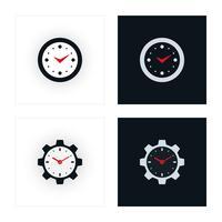 Ícones de relógio mínimo vetor