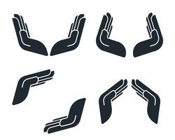 Ícones de mão de proteção vetor