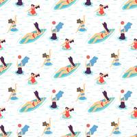 Garota de recreação de verão motivação padrão sem emenda vetor