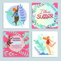 Conjunto De Meninas Divertidas, Eu Amo O Verão, Férias Coloridas